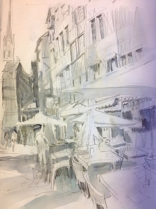 Value study drawing of Rue Martainville, Rouen