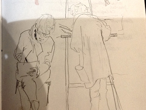 Sketch of artists working at La Page Blanche