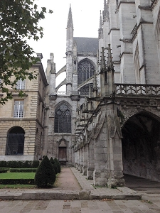 View of the medieval Gothic Church of St. Ouen in Rouen