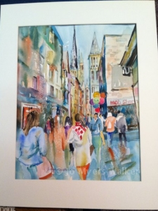 Walking Home in Rouen, watercolor painting by Jo Myers-Walker