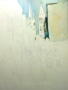Walking Home in Rouen, start of the painting by Jo Myers-Walker