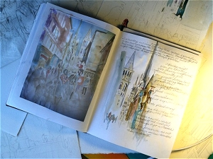Walking home in Rouen, scene in Jo Myers-Walker's sketchbook