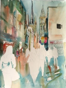 Walking Home in Rouen, watercolor painting by Jo Myers-Walker shown in progress