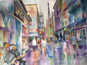 Saturday Night in Rouen, watercolor painting by Jo Myers-Walker