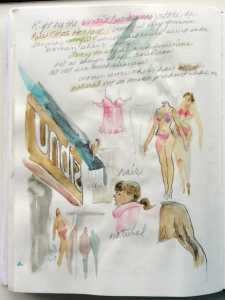 Page from Jo Myers-Walker's sketchbook showing Undiz store in Rouen