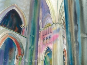 Detail of watercolor painting of Rouen Cathedral interior by Jo Myers-Walker