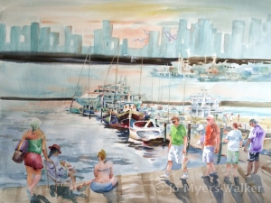 Watercolor painting of Florida dock by Jo Myers-Walker
