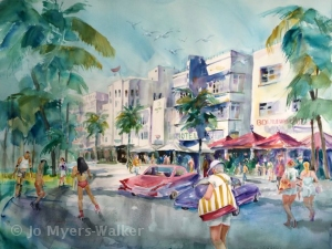 Watercolor painting of Ocean Drive, Miami Beach by Jo Myers-Walker