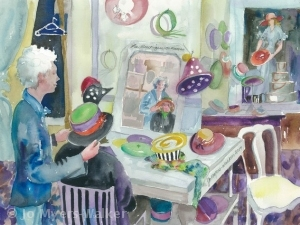 Watercolor painting of La Boutique de Maman by Jo Myers-Walker