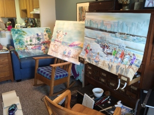 "Watercolor paintings by Jo Myers-Walker displayed on furniture ""easels"""