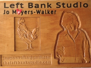 Carved wood plaque by Bob Clymer
