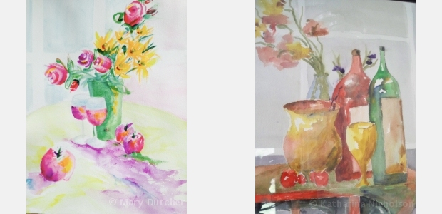 Students' watercolor paintings of still life from workshop at Summerset Winery