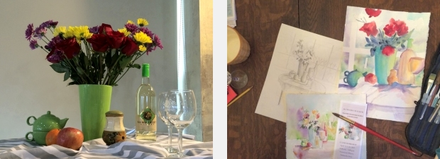 Still life tableau, sketch and paintings from workshop at Summerset Winery, Indianola, IA