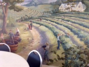 Mural showing vineyard scene at Summerset Winery, Indianola, IA