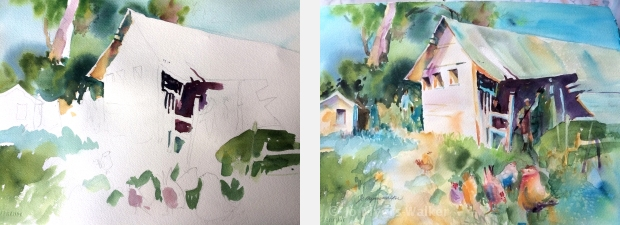 In-progress and completed watercolor paintings of a farmyard scene by Jo Myers-Walker, demonstrating cool dominance in colors