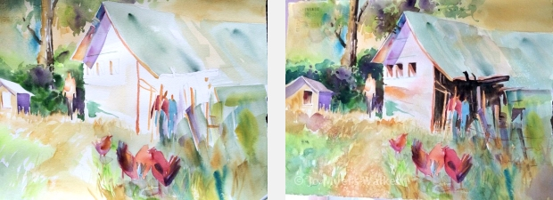 In-progress and completed watercolor paintings of a farmyard scene by Jo Myers-Walker, demonstrating warm dominance in colors