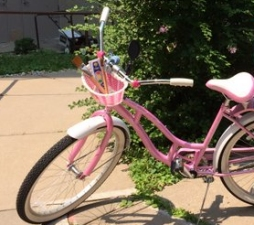 Jo's pink bicycle