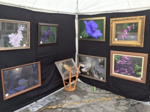 Photography by Rich Clewell displayed on mesh panels inside tent