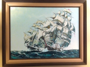 Acrylic painting of clipper ships on Guantanamo Bay by Jo Myers-Walker