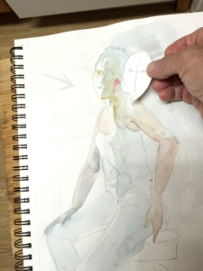 Life drawing sketch used to show proportions of the body