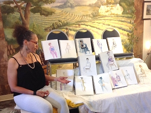 A life drawing model with paintings from workshop at Summerset Winery, July 2015