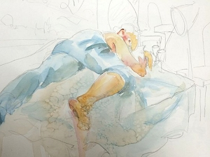 Life drawing sketch of a sleeping pose