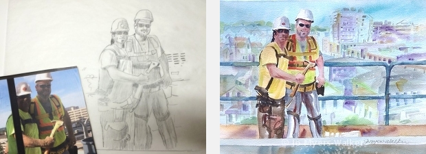 Sketch and watercolor painting of high-rise window installers over downtown Iowa City, by Jo Myers-Walker