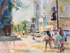 Completed Iowa City street scene watercolor by Jo Myers-Walker