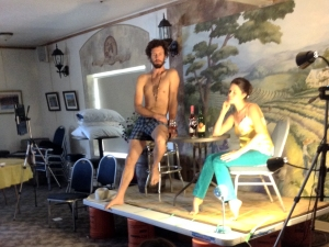 Models posing for artists at a life drawing workshop at Summerset Winery, Indianola, Iowa