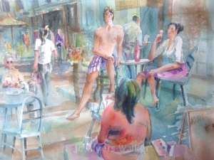 Watercolor painting of life drawing models imagined at a sidewalk cafe, by Jo Myers-Walker