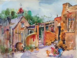 Completed watercolor painting of El Rancho de las Golondrinas by Jo Myers-Walker