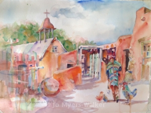 Second watercolor painting of El Rancho de las Golondrinas by Jo Myers-Walker