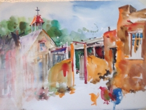 Watercolor painting of El Rancho de las Golondrinas with a section washed out to re-do