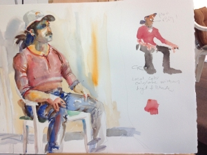 Sketchbook pages with watercolor of seated man painted from life by Jo Myers-Walker plus small instructional sketch by Charles Reid
