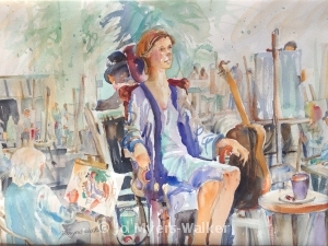 Watercolor painting of scene at artsBASICS fundraiser by Jo Myers-Walker