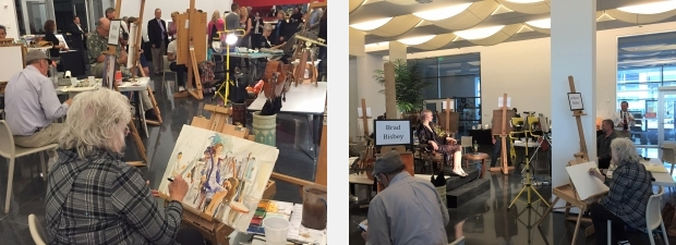 Views of artists painting during a fundraiser for artsBASICS at Figge Art Museum