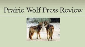 Photo of two wolves, website header of Prairie Wolf Press Review