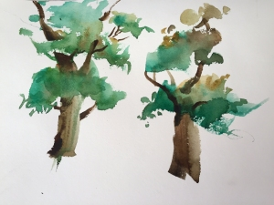 Demonstration of adding foliage to painting of trees, watercolor by Jo Myers-Walker