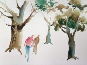 Demonstration of adding figures to painting of trees, watercolor by Jo Myers-Walker