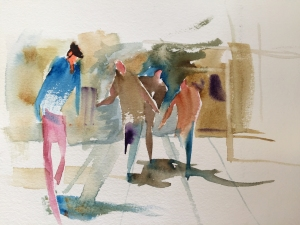 Demonstration of figures gesturing in a street scene, watercolor by Jo Myers-Walker