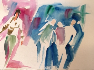 Demonstration of adding figures in painting a street scene, watercolor by Jo Myers-Walker