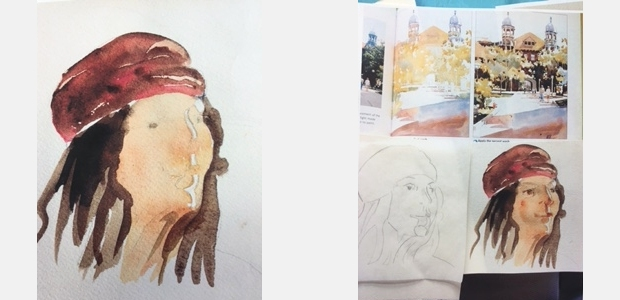 Photos of watercolor paintings in progress illustrate the use of layers