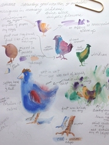 Watercolor techniques demonstrated by painting chickens