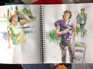Watercolor sketches of people in the sunlight