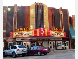 Photo of art deco style Capitol Theater in downtown Burlington, Iowa
