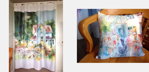 Curtain and pillow digitally printed with watercolor paintings by Jo Myers-Walker