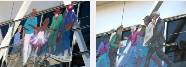 Panels from sculpture by Jo Myers-Walker on Cedar Rapids skywalk