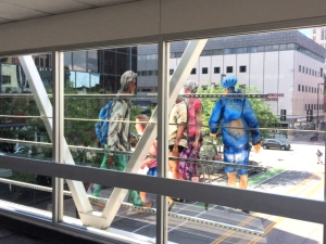 One of the eight sculpture panels by Jo Myers-Walker seen from inside the Cedar Rapids skywalk