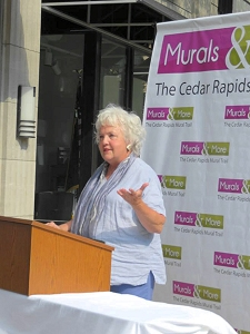 Jo Myers-Walker speaking at the reveal of artwork installed on Cedar Rapids skywalk