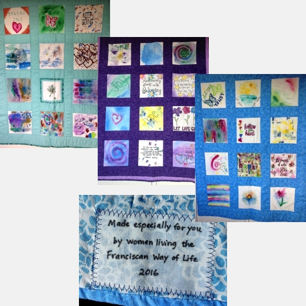 Three colorful small quilts made from quilt squares painted with empowering phrases and designs